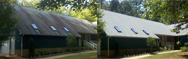 Roof cleaning: Before and after
