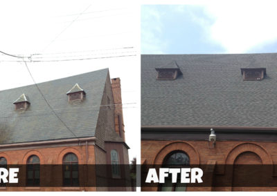 Before and after comparison of a roof cleaning/ restoration project of a large church.