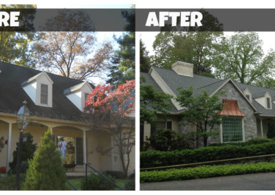 Before and after photos of roof replacement.