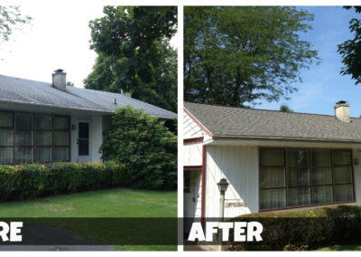 Before and after comparison of a roof cleaning project.