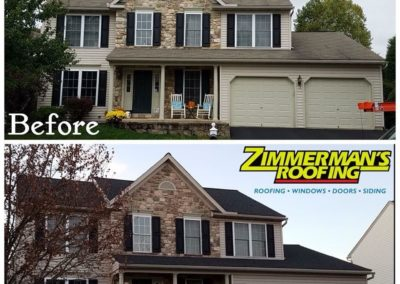 Roof replacement before and after.
