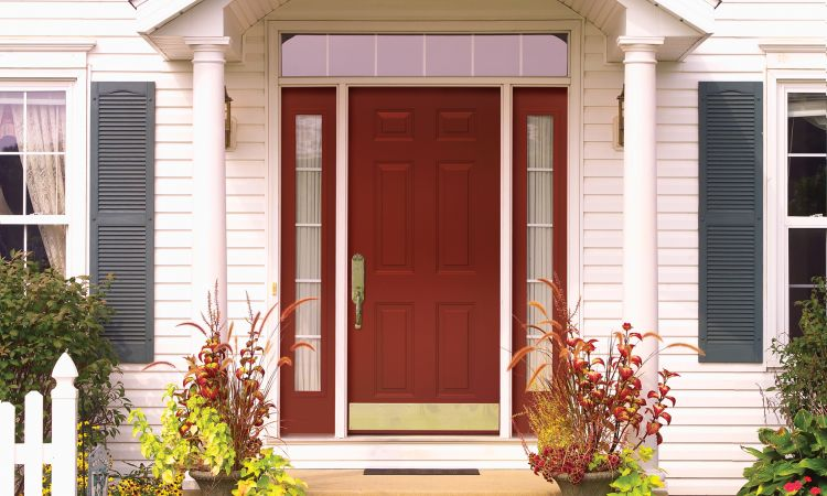Red front entry door to home