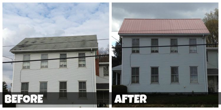 New metal roof on home - before and after