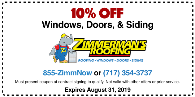 10% off windows, doors and siding.