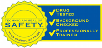 Safety certification badge.